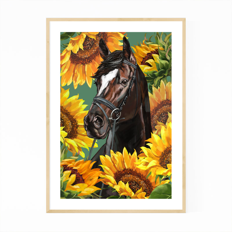 Horse Cute Animal Childrens Room Framed Art Print