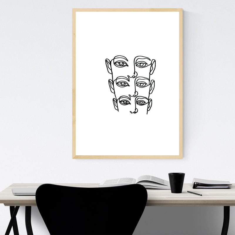 Abstract Face B&W Line Drawing Framed Art Print