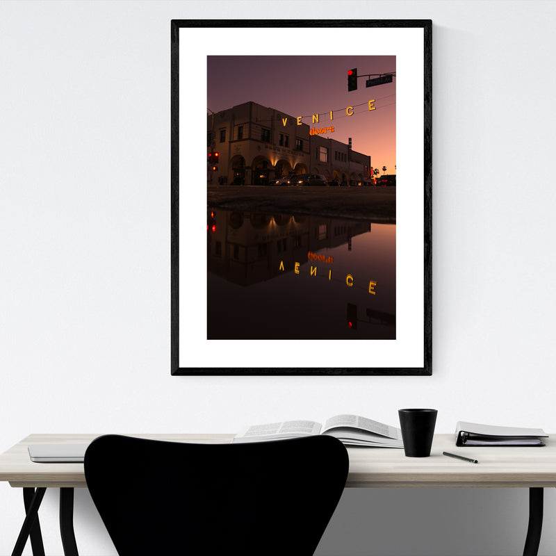 Venice Beach Sign Los Angeles CA Framed Art Print