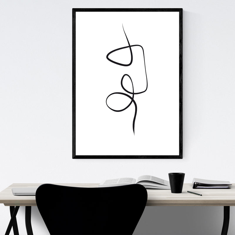 Abstract Minimal Ink Line Drawing Framed Art Print