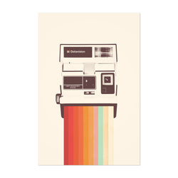 Vintage Camera Rainbow Retro Art Print