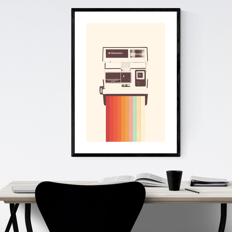 Vintage Camera Rainbow Retro Framed Art Print