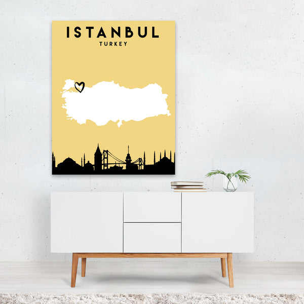 Istanbul Turkey Heart Urban Map Art Print