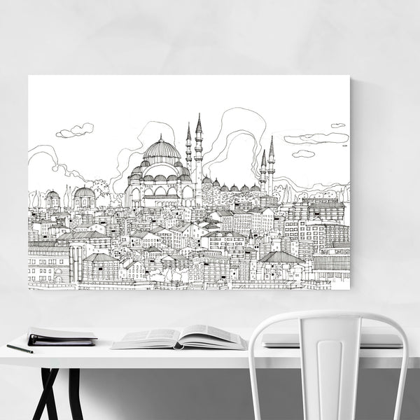 Istanbul Turkey Skyline Drawing Art Print