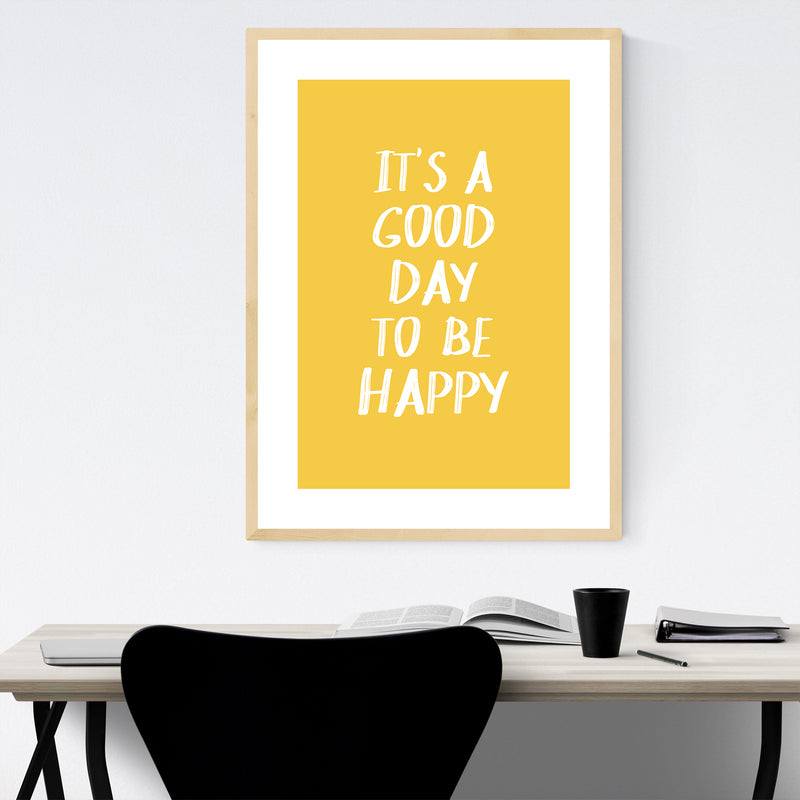 Happiness Inspirational Quote Framed Art Print