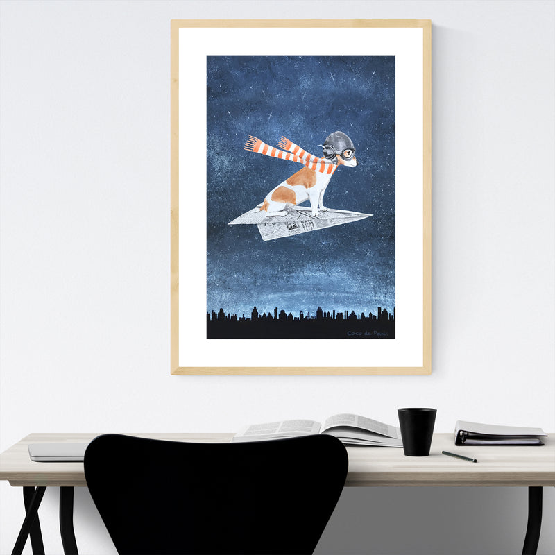 Jack Russell On Paper Plane Painting Framed Art Print