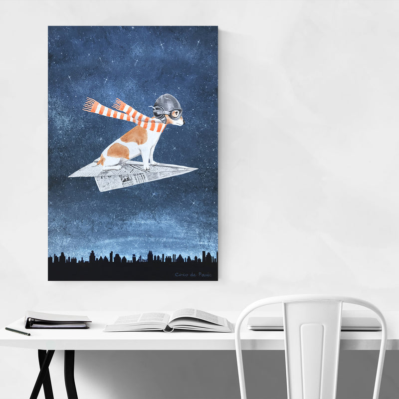 Jack Russell On Paper Plane Painting Art Print