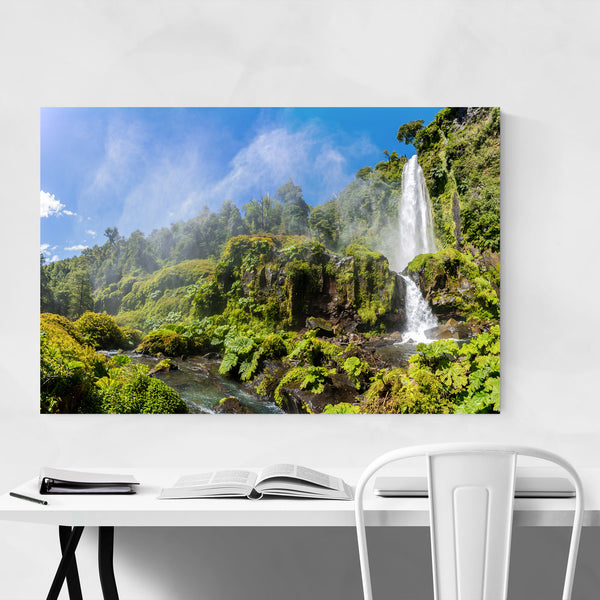 Waterfall Villarrica Andes Chile Art Print