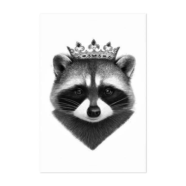 Raccoon Animal with Crown Funny Art Print