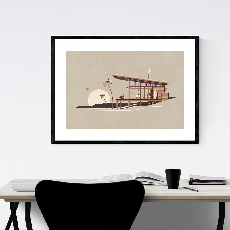 Modern Architecture Beach Minimal Framed Art Print
