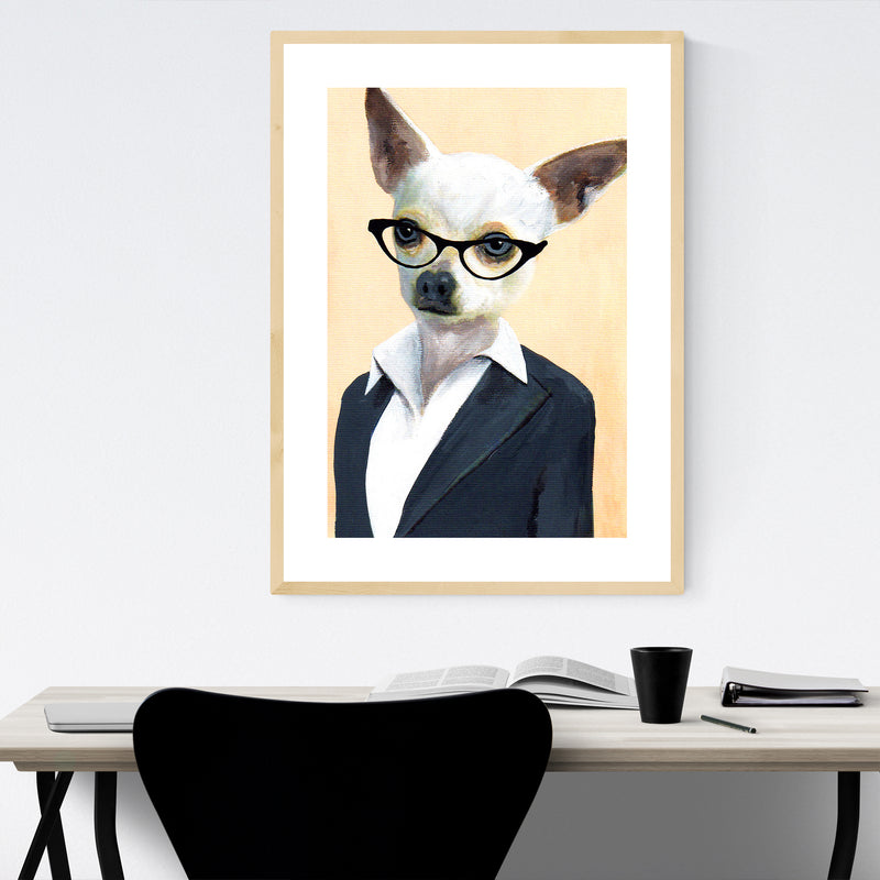 Funny Lady Chihuahua Painting Framed Art Print