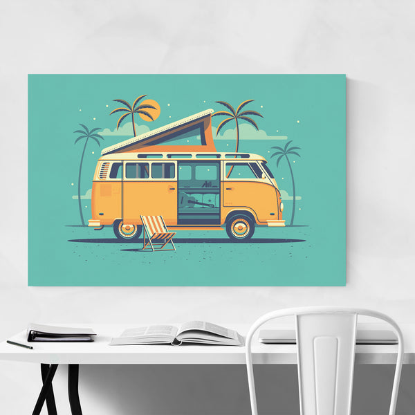 VW Van Camping Beach Palm Trees Art Print