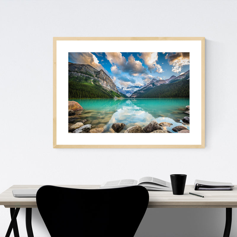 Lake Louise Sunset Canada Alberta Framed Art Print