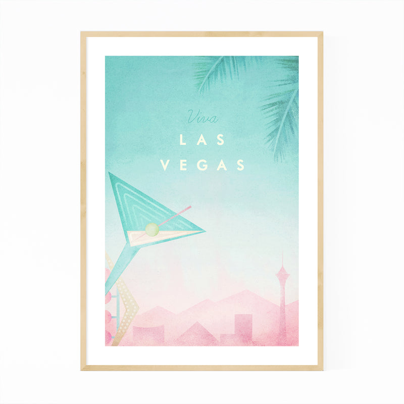 Las Vegas Retro Travel Poster Framed Art Print