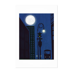 Urban Night Moon Cityscape Art Print