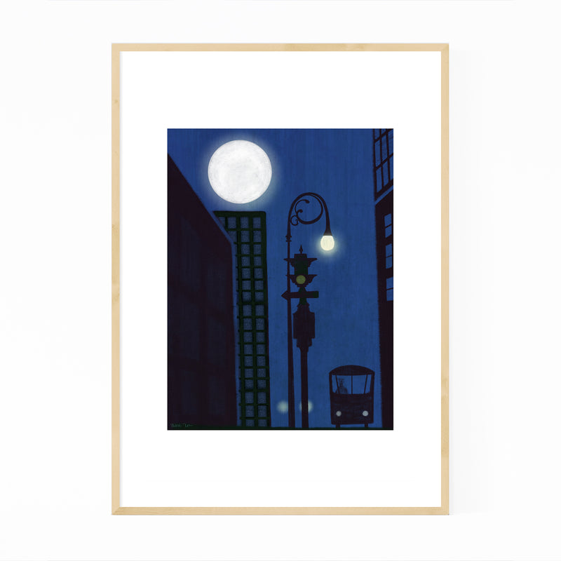 Urban Night Moon Cityscape Framed Art Print