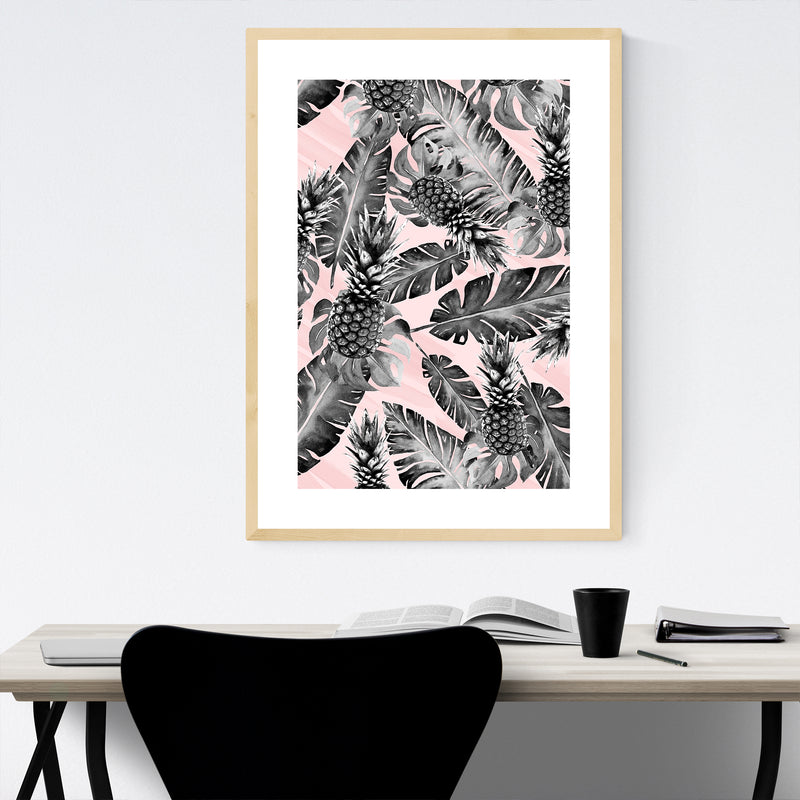 Tropical Pineapples Pattern Framed Art Print