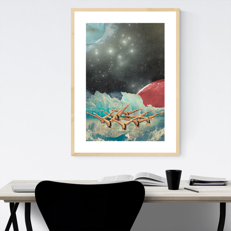 Abstract Space Astronomy Collage Framed Art Print