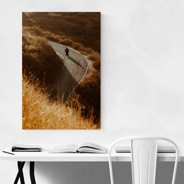 Motorcycle Rider Mountains Scenic Art Print