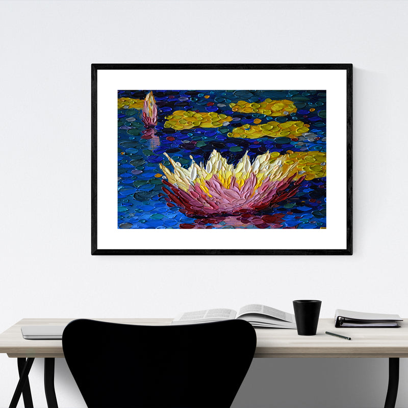 Lily Pads Floral Nature Painting Framed Art Print