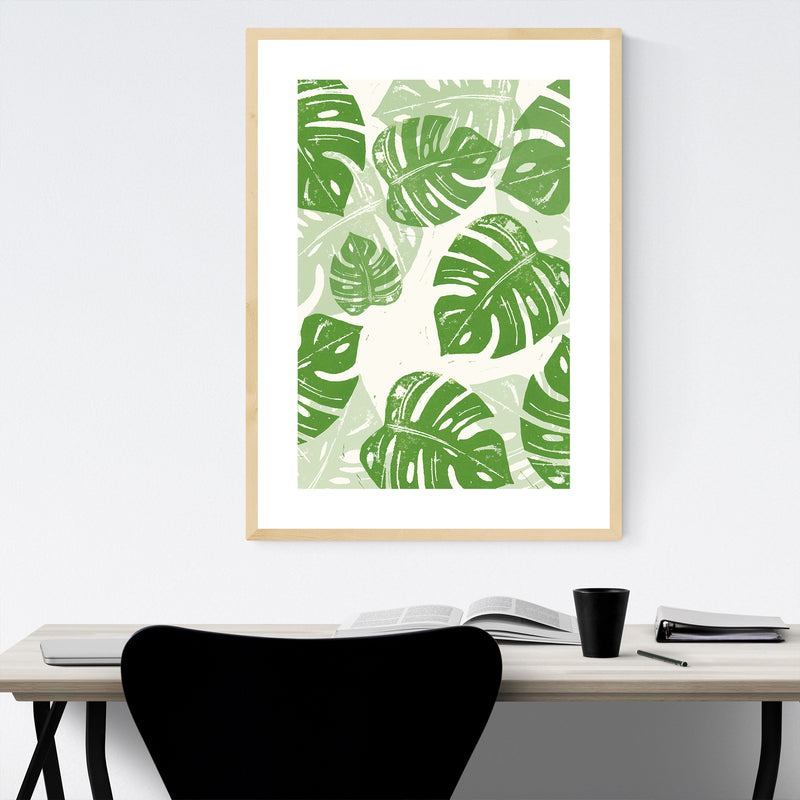 Linocut Floral Botanical Monstera Framed Art Print