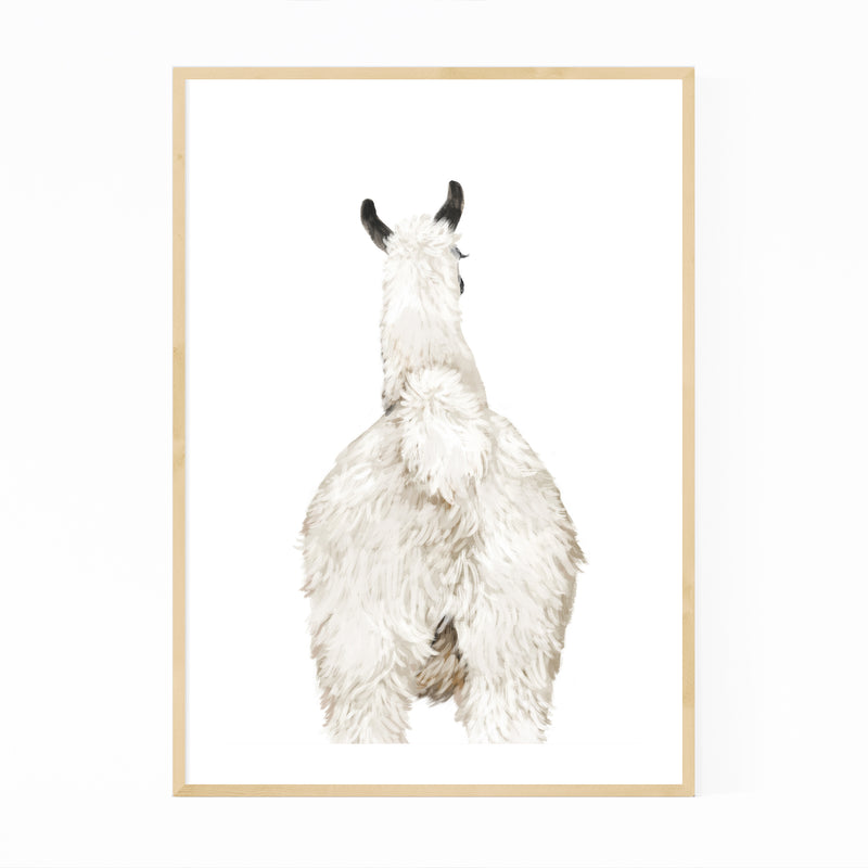Llama Cute Peekaboo Animal Framed Art Print