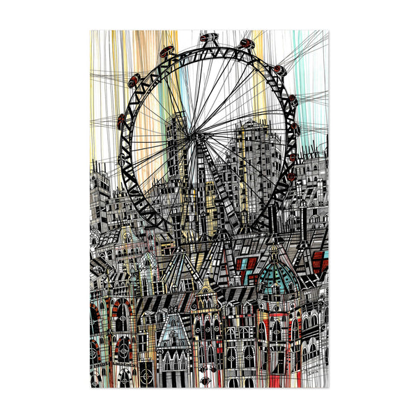 London UK London Eye Mixed Media Art Print