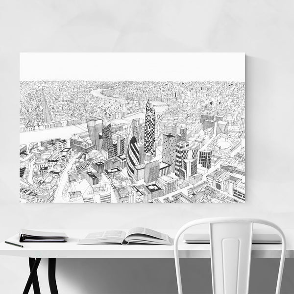 London England Skyline Drawing Art Print