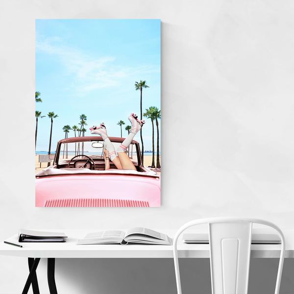 Long Beach Roller Skate Car Palm Art Print