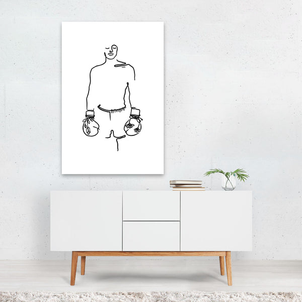 Floral Love Boxer Line Drawing Art Print