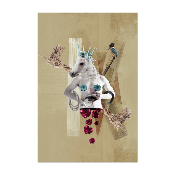Dadaist Horse Abstract Surreal Collage Art Print