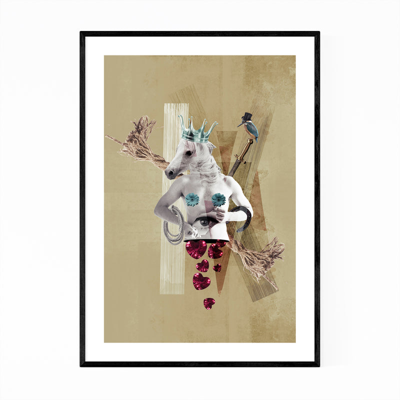 Dadaist Horse Abstract Surreal Collage Framed Art Print