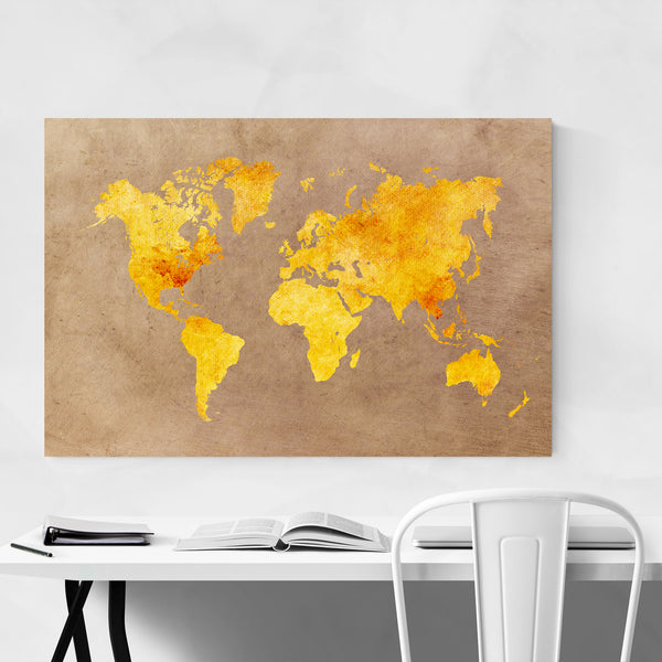 Yellow Orange World Travel Map Art Print