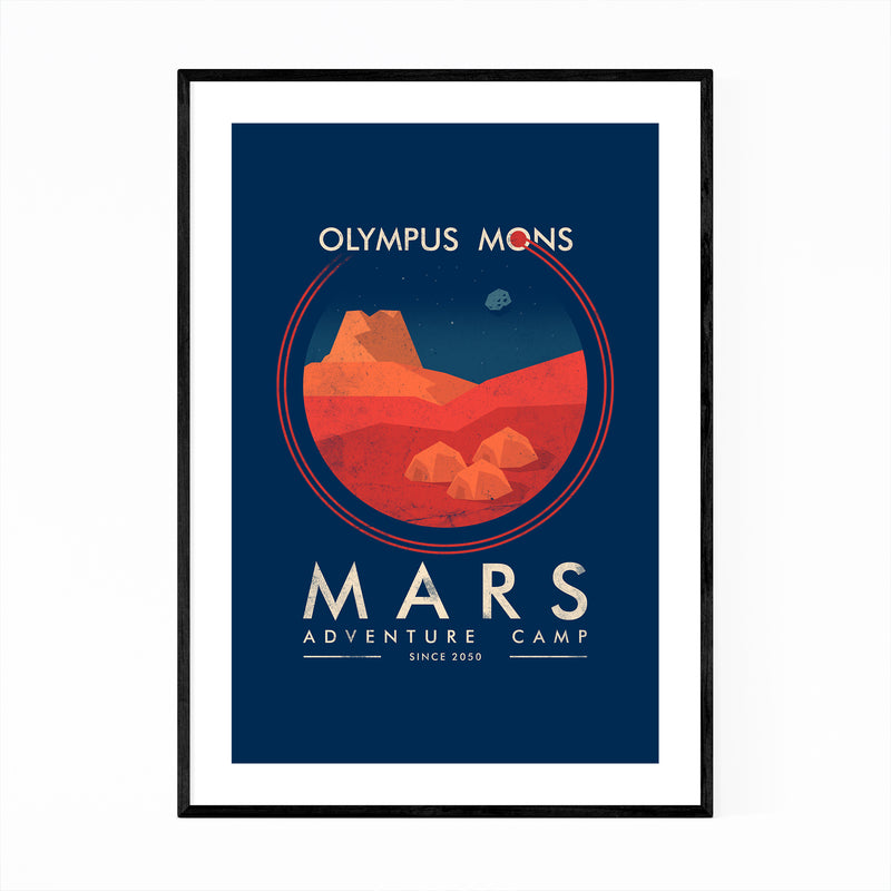 Mars Space Astronomy Retro Framed Art Print