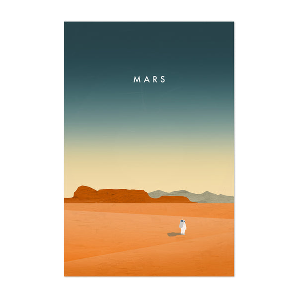 Mars Outer Space Vintage Travel Art Print