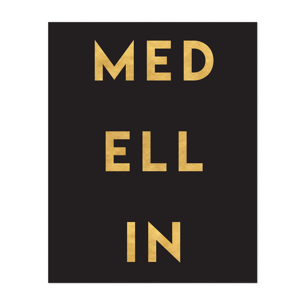 Medellin Colombia Urban Typography Art Print