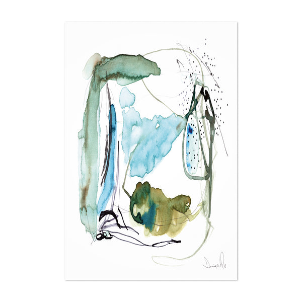 Abstract Acrylic Blue Green Art Print