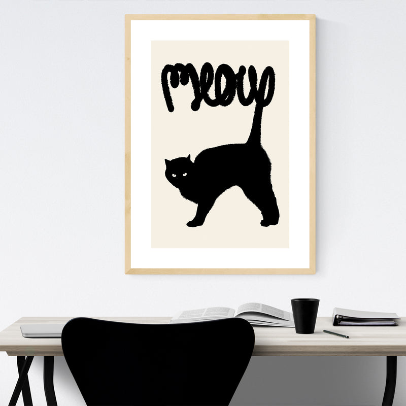 Cat Meow Funny Animal Pets Framed Art Print