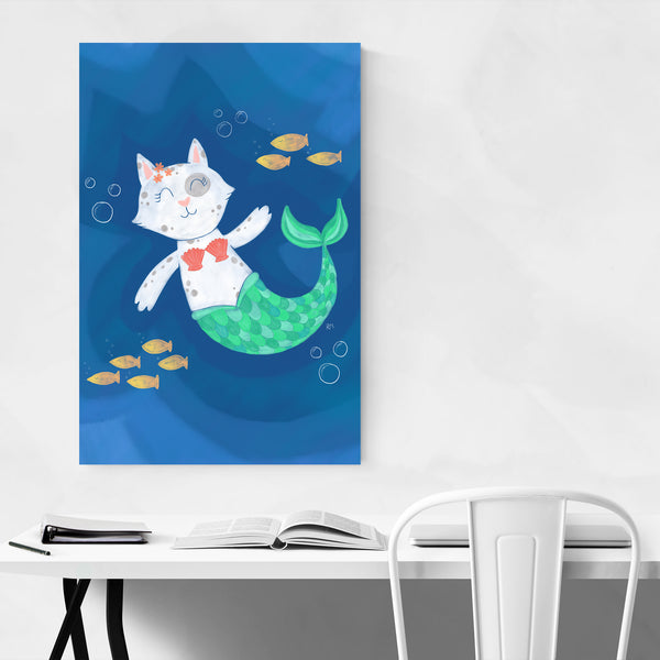 Cute Mermaid Cat Animal Humor Art Print