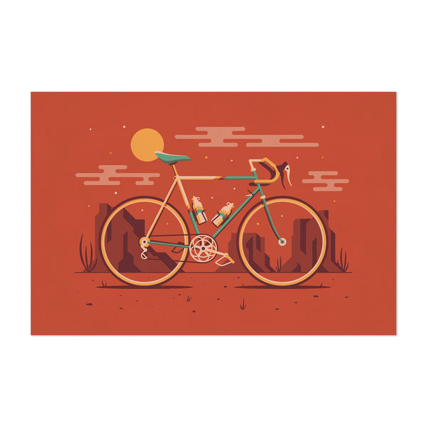 Road Bicycle Desert Minimal Art Print