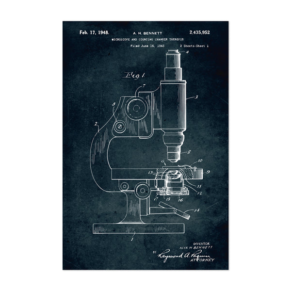 Microscope Science Gift Patent Print Art Print