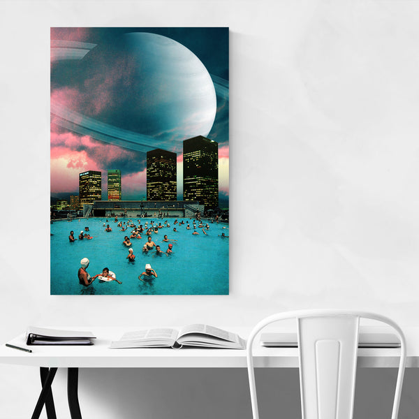Vintage Urban Space Planet Collage Art Print