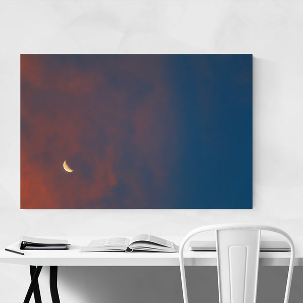 Moon Sunset Sky Nature Colorful Art Print
