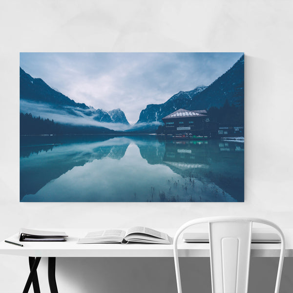 Toblach Lake South Tyrol Italy Art Print