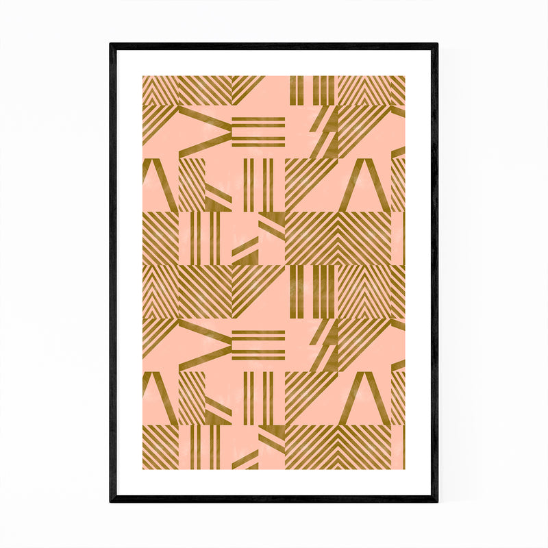 Modern Abstract Geometric Lines Framed Art Print