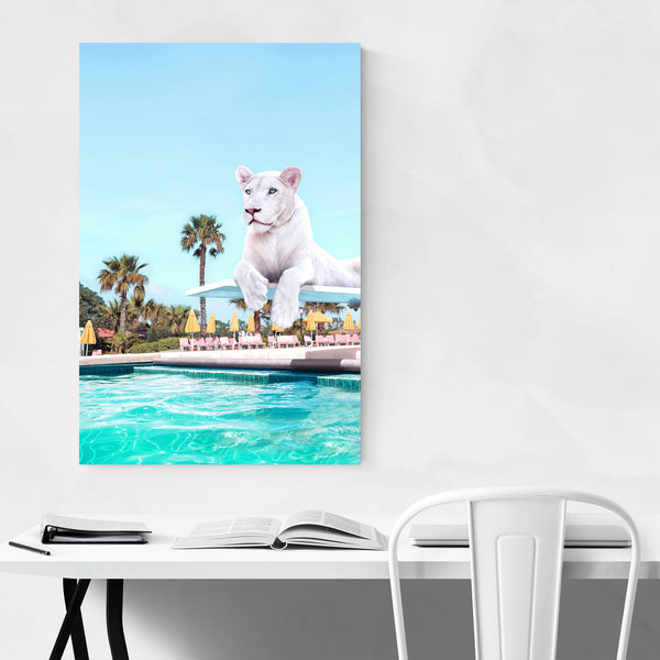 White Tiger Palm Trees Coastal Art Print