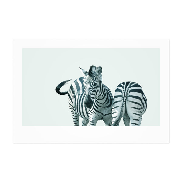 Minimal Zebra Animal Pastel Portrait Art Print
