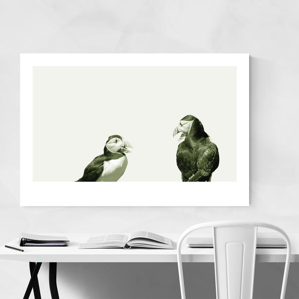 Minimal Green Pastel Puffin Bird Art Print