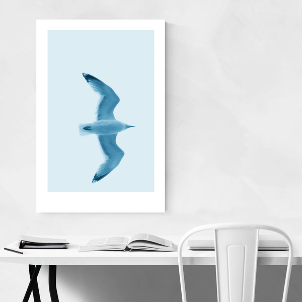 Minimal Herring Gull Bird Pastel Art Print