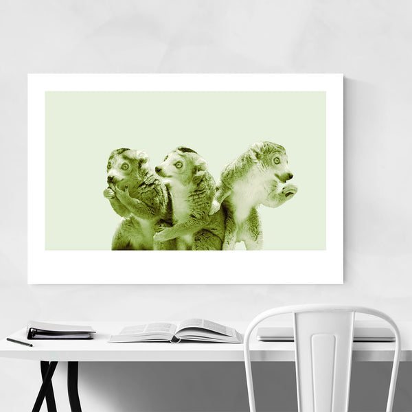 Minimal Lemur Animal Pastel Portrait Art Print